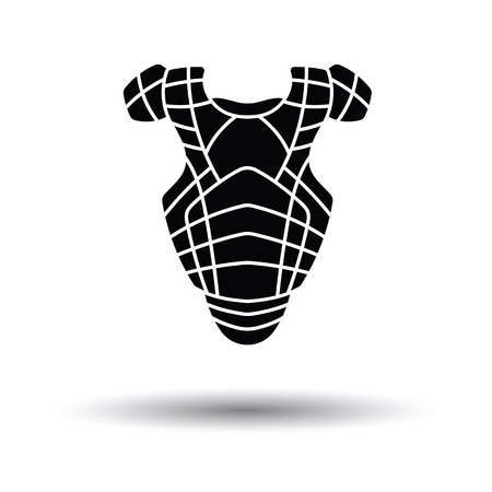 baseball catcher: Baseball chest protector icon. White background with shadow design. Vector illustration. Illustration