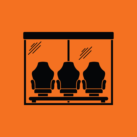 substitute: Soccer players bench icon. Orange background with black. Vector illustration. Illustration