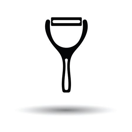 peeler: Vegetable peeler icon. White background with shadow design. Vector illustration.