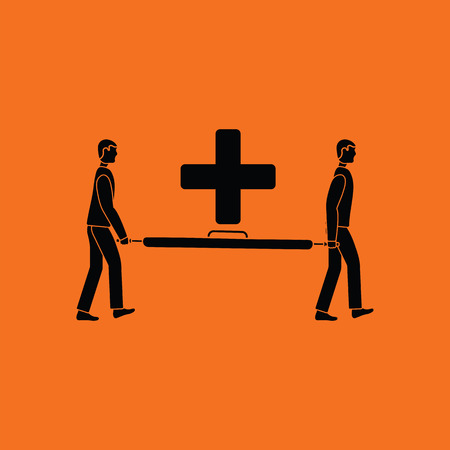 Soccer medical staff carrying stretcher icon. Orange background with black. Vector illustration.