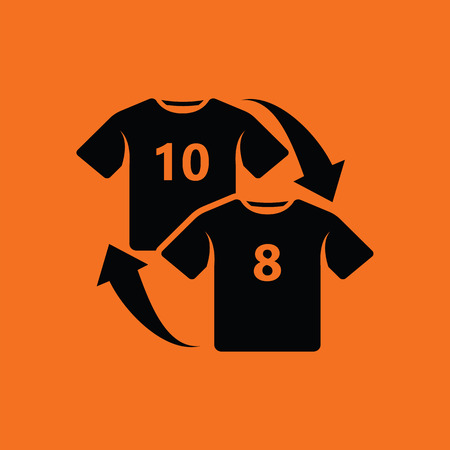 replace: Soccer replace icon. Orange background with black. Vector illustration. Illustration