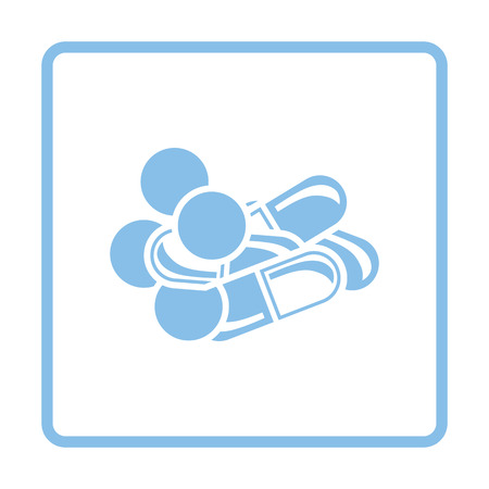 Pill and tabs icon. Blue frame design. Vector illustration.