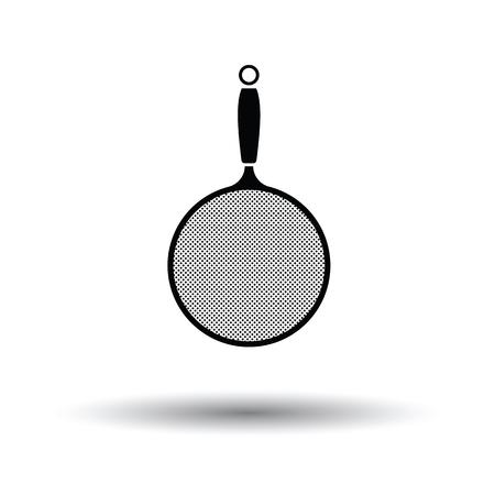 drainer: Kitchen colander icon. White background with shadow design. Vector illustration. Illustration