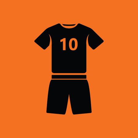 soccer uniform: Soccer uniform icon. Orange background with black. Vector illustration. Illustration