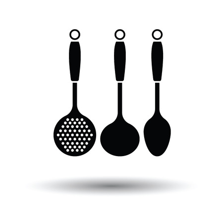 masher: Ladle set icon. White background with shadow design. Vector illustration.