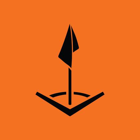 team game: Soccer corner flag icon. Orange background with black. Vector illustration.
