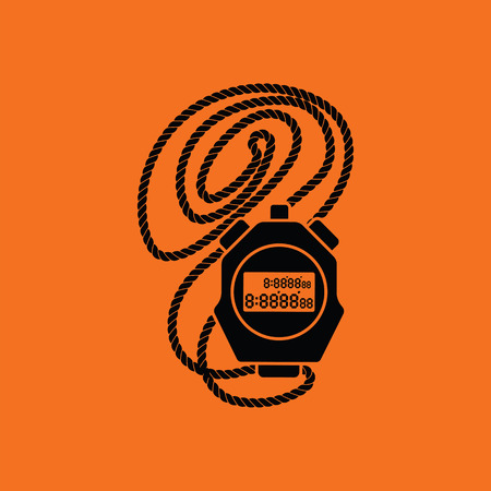 Coach stopwatch  icon. Orange background with black. Vector illustration.