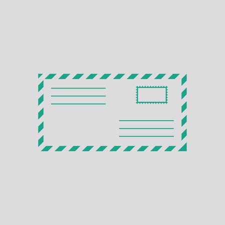 postscript: Letter icon. Gray background with green. Vector illustration. Illustration