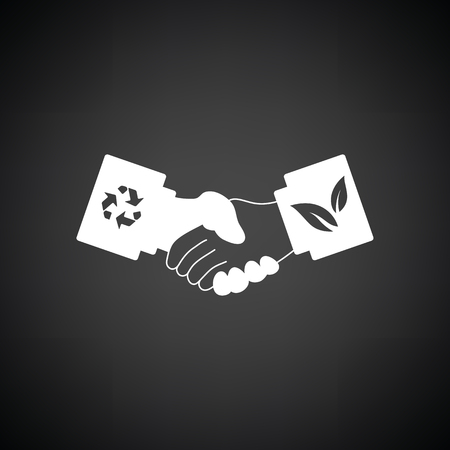 handshakes: Ecological handshakes icon. Black background with white. Vector illustration.