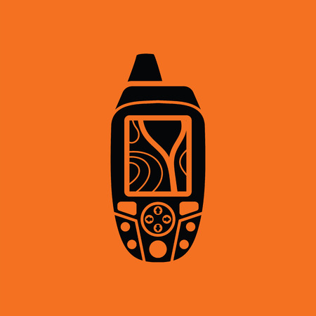 handheld device: Portable GPS device icon. Orange background with black. Vector illustration. Illustration