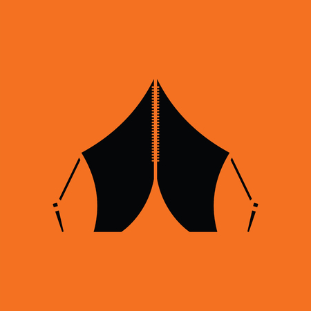 refuge: Touristic tent icon. Orange background with black. Vector illustration.