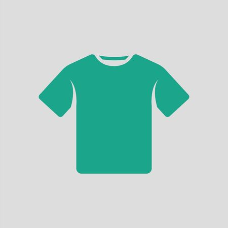 short sleeve: T-shirt icon. Gray background with green. Vector illustration.