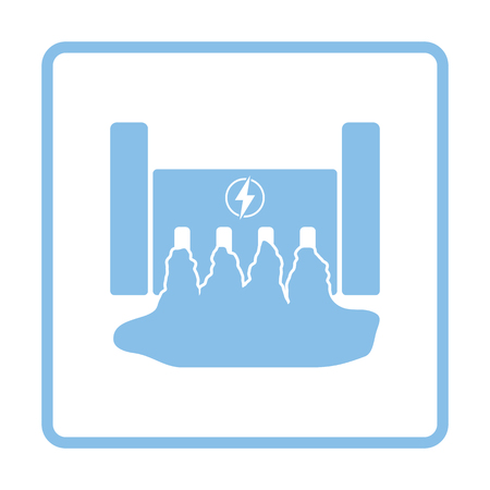 hydroelectricity: Hydro power station icon. Blue frame design. Vector illustration.