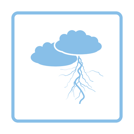Clouds and lightning icon. Blue frame design. Vector illustration.