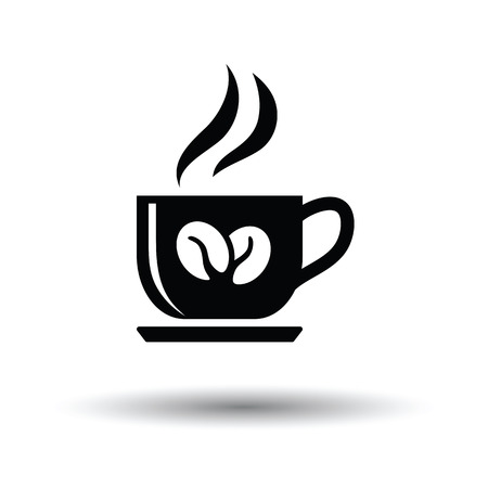 Coffee cup icon. White background with shadow design. Vector illustration.
