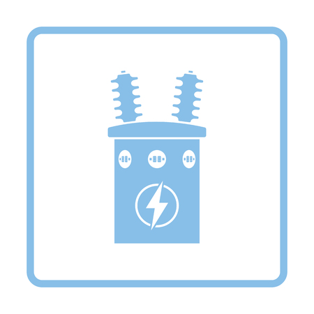 Electric transformer icon. Blue frame design. Vector illustration.