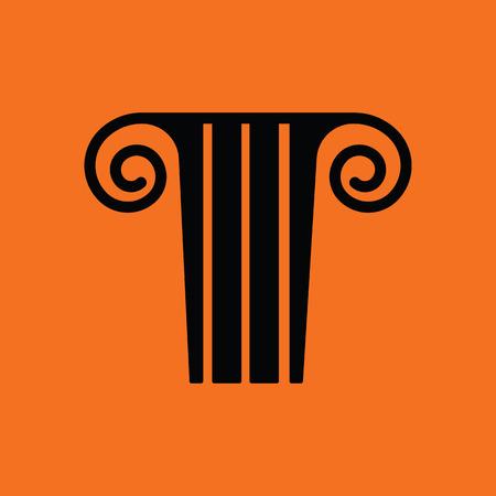 columns: Antique column  icon. Orange background with black. Vector illustration.
