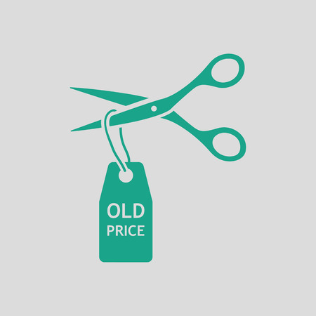 thrift: Scissors cut old price tag icon. Gray background with green. Vector illustration.