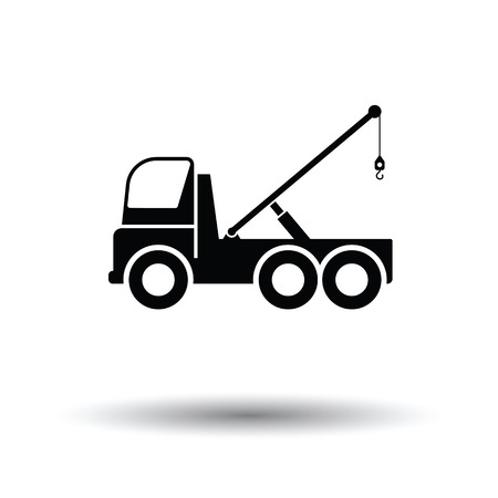 the wrecker: Car towing truck icon. White background with shadow design. Vector illustration.