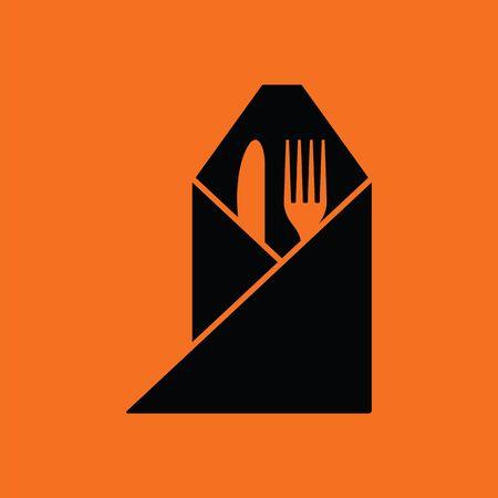 napkin: Fork and knife wrapped napkin icon. Orange background with black. Vector illustration. Illustration