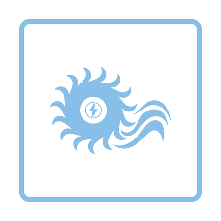 turbina: icono de turbina de agua. Diseño del marco azul. Ilustración del vector.