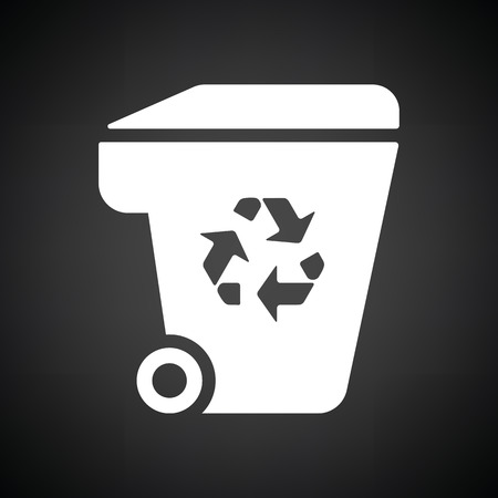 garbage container: Garbage container recycle sign icon. Black background with white. Vector illustration.