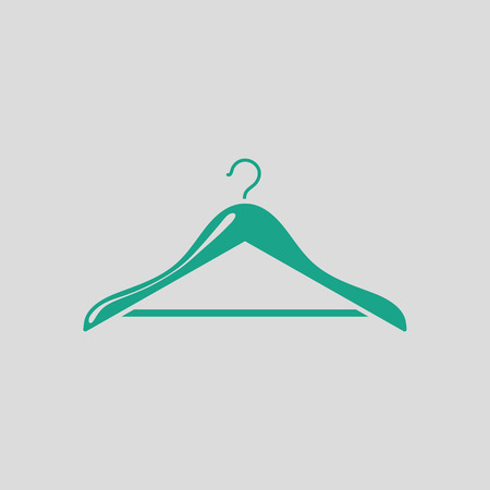 Cloth hanger icon. Gray background with green. Vector illustration. Illustration