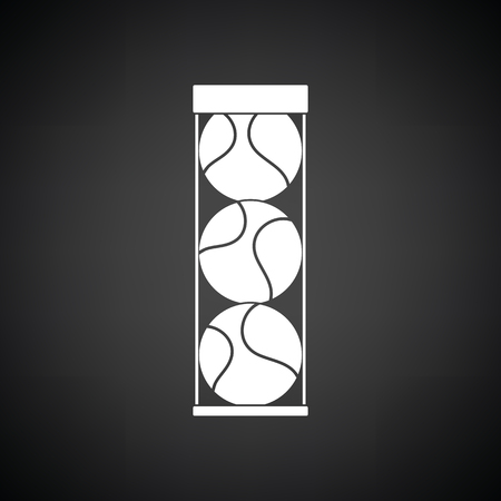 grass isolated: Tennis ball container icon. Black background with white. Vector illustration.