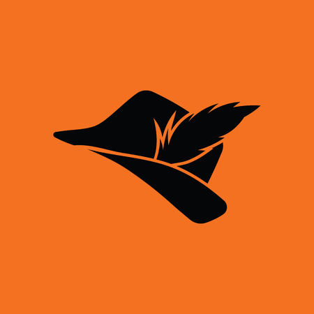 hat with feather: Hunter hat with feather  icon. Orange background with black. Vector illustration.