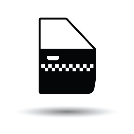 passenger transportation: Taxi side door icon. White background with shadow design. Vector illustration.