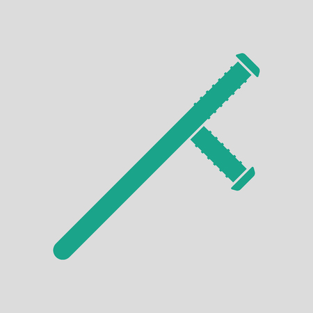 Police baton icon. Gray background with green. Vector illustration.