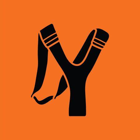 Hunting  slingshot  icon. Orange background with black. Vector illustration. Illustration