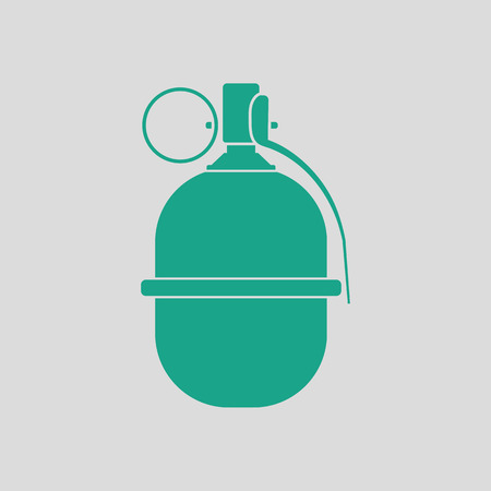 Attack grenade icon. Gray background with green. Vector illustration. Illustration