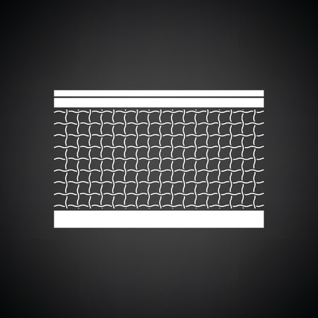 synthetic court: Tennis net icon. Black background with white. Vector illustration.