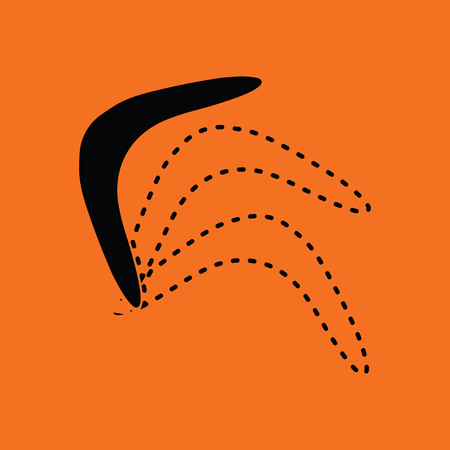Boomerang  icon. Orange background with black. Vector illustration.