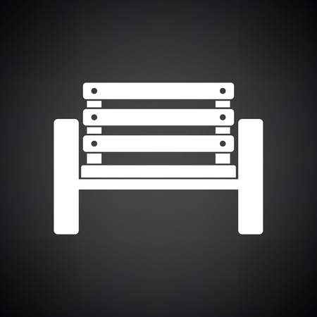 Tennis player bench icon. Black background with white. Vector illustration. Illustration