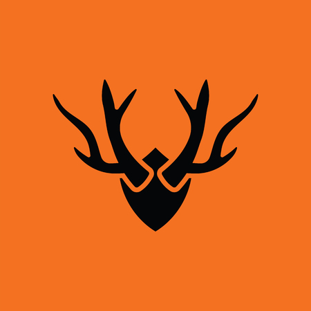 Deers antlers  icon. Orange background with black. Vector illustration. Illustration