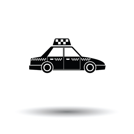 Taxi car icon. White background with shadow design. Vector illustration.