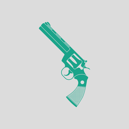 Revolver gun icon. Gray background with green. Vector illustration.