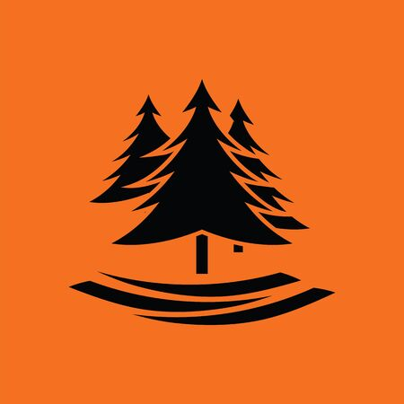 Fir forest  icon. Orange background with black. Vector illustration.
