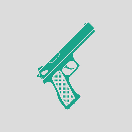 Gun icon. Gray background with green. Vector illustration.