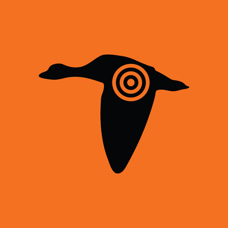 drake: Flying duck  silhouette with target  icon. Orange background with black. Vector illustration. Illustration