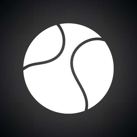 exercise equipment: Tennis ball icon. Black background with white. Vector illustration.