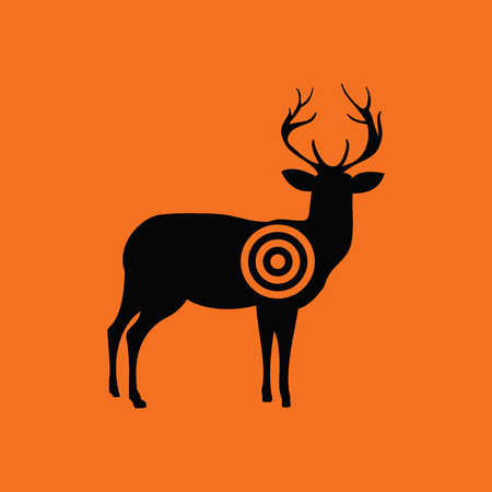Deer silhouette with target icon. Orange background with black. Vector illustration. 向量圖像