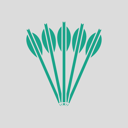 arbalest: Crossbow bolts icon. Gray background with green. Vector illustration.