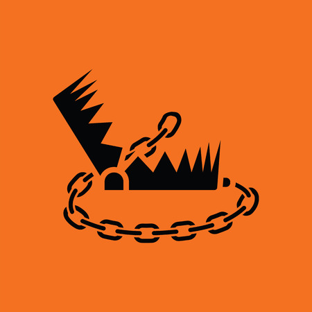 shackles: Bear hunting trap  icon. Orange background with black. Vector illustration.