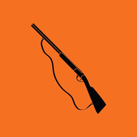 Hunting gun icon. Orange background with black. Vector illustration.