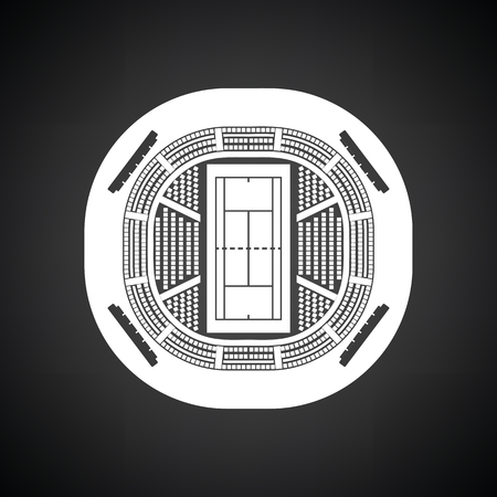 grandstand: Tennis stadium aerial view icon. Black background with white. Vector illustration.