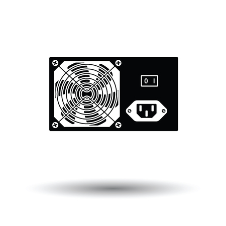 psu: Power unit icon. Black background with white. Vector illustration.