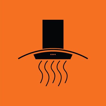 stove top: Kitchen hood icon. Orange background with black. Vector illustration.